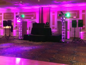 Boston area prom dj and pink uplighting